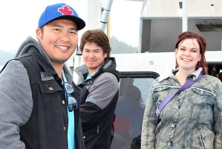 Eddie Walkus, Gordon Roberts and Karen Steele are all smiles on the boat excursion!